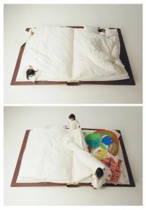 Il libro-letto del designer giapponese Yusuke Suzuki è il regalo ideale per grandi e piccini. Da avere, anche solo per poter dire agli amici di aver letto un libro distesi su di un libro!