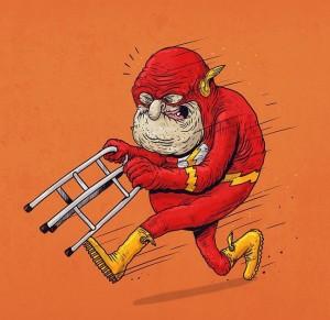 Guarda Flash, invece, che continua a correre, anche se si aiuta con il deambulatore.