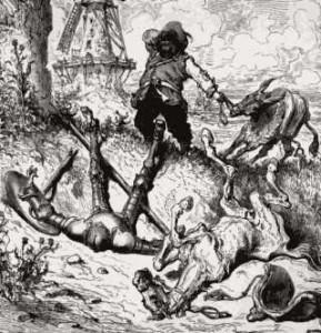 Don Chisciotte con il suo scudiero e compagno Sancho Panza