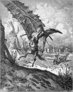 Don Chisciotte in lotta contro i mulini a vento